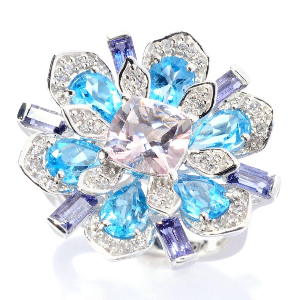 142-031 - NYC II 4.07ctw Morganite, Swiss Blue Topaz, White Zircon & Iolite Flower Ring