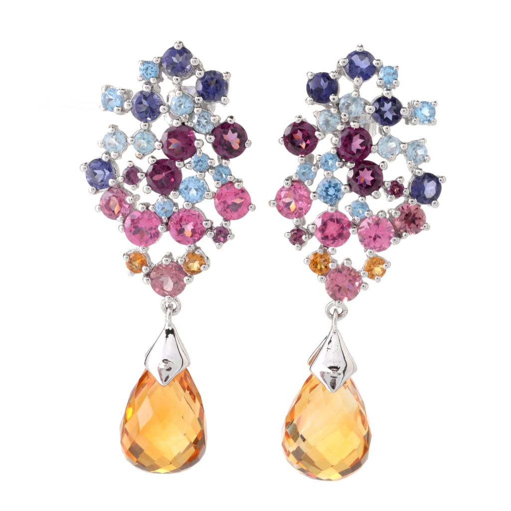 "142-032 - NYC II 1.75"" 20.33ctw Multi Gemstone Briolette Drop Earrings"