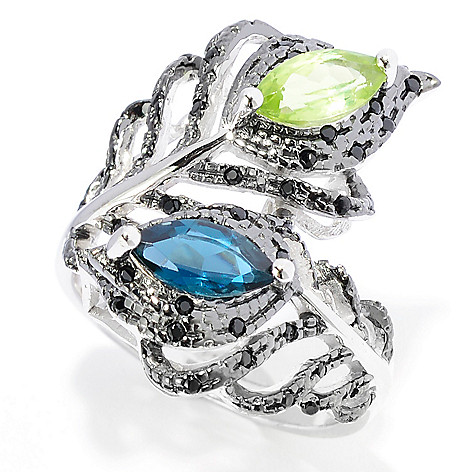 142-033 - NYC II™ 1.23ctw Peridot, London Blue Topaz & Black Spinel Bypass Ring