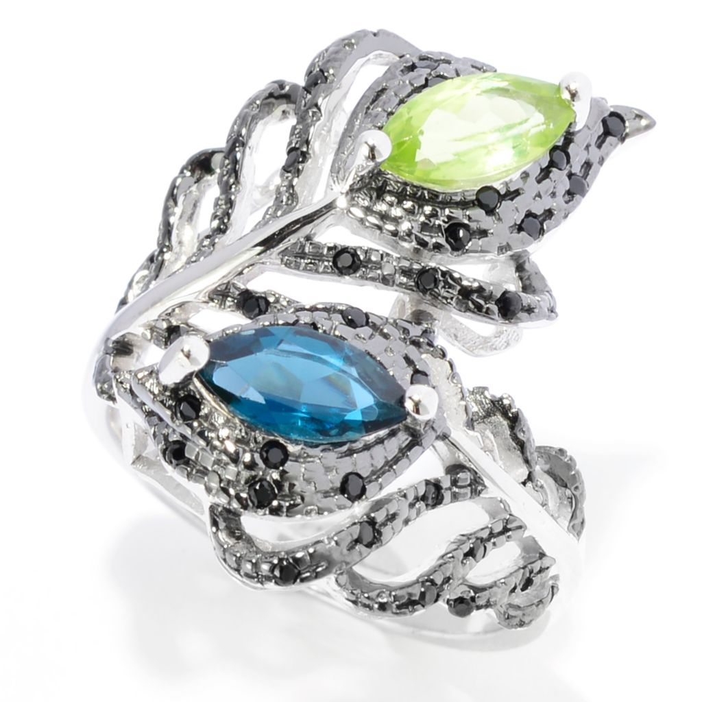 142-033 - NYC II 1.23ctw Peridot, London Blue Topaz & Black Spinel Bypass Ring