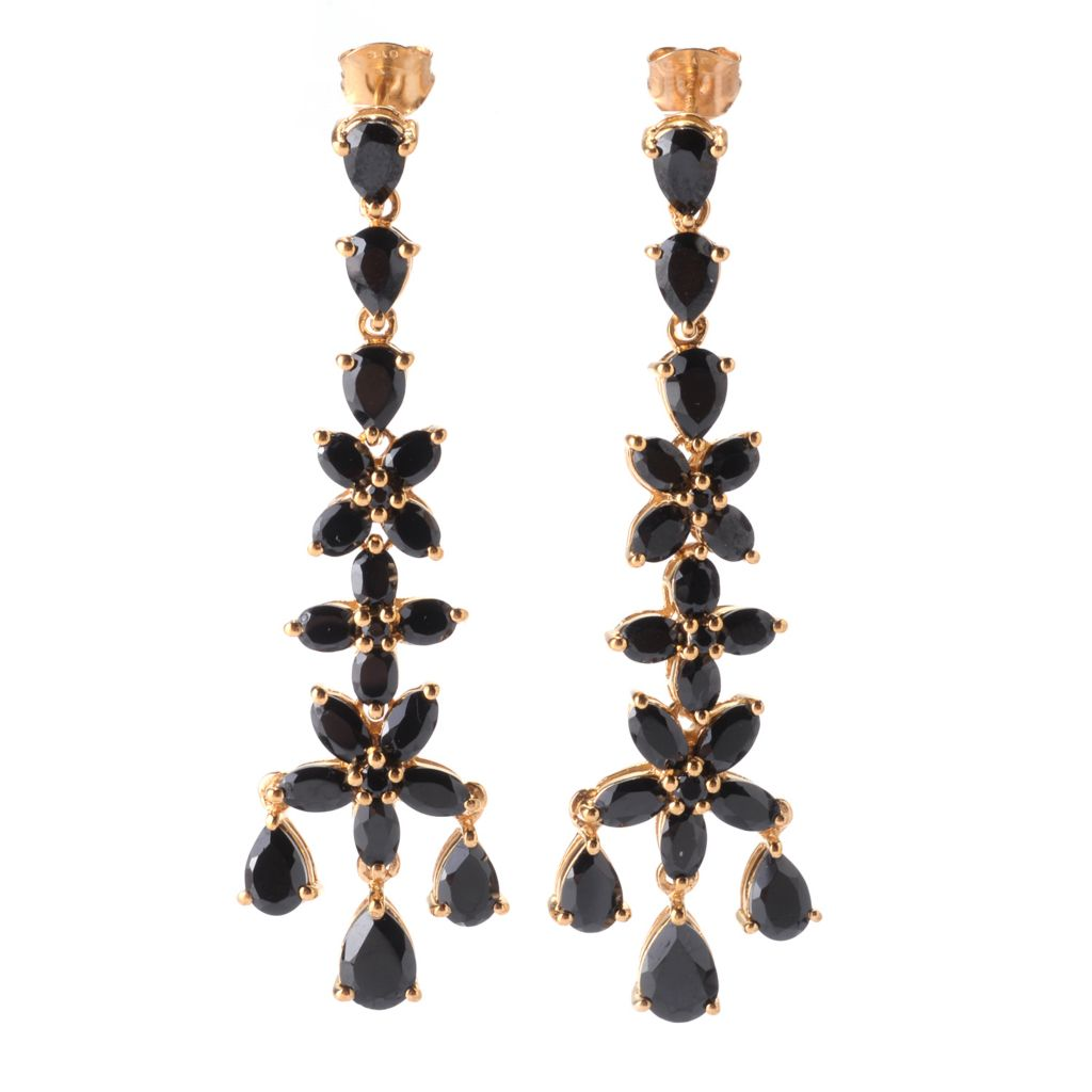 "142-034 - NYC II 2.25"" 11.86ctw Multi Shape Black Spinel Dangle Earrings"