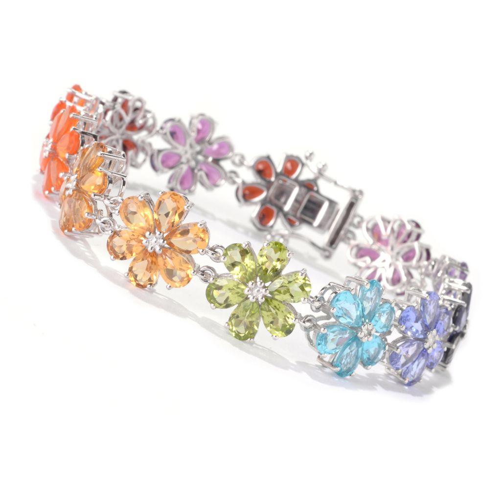142-035 - NYC II 19.08ctw Multi Gemstone Exotic Rainbow Link Bracelet