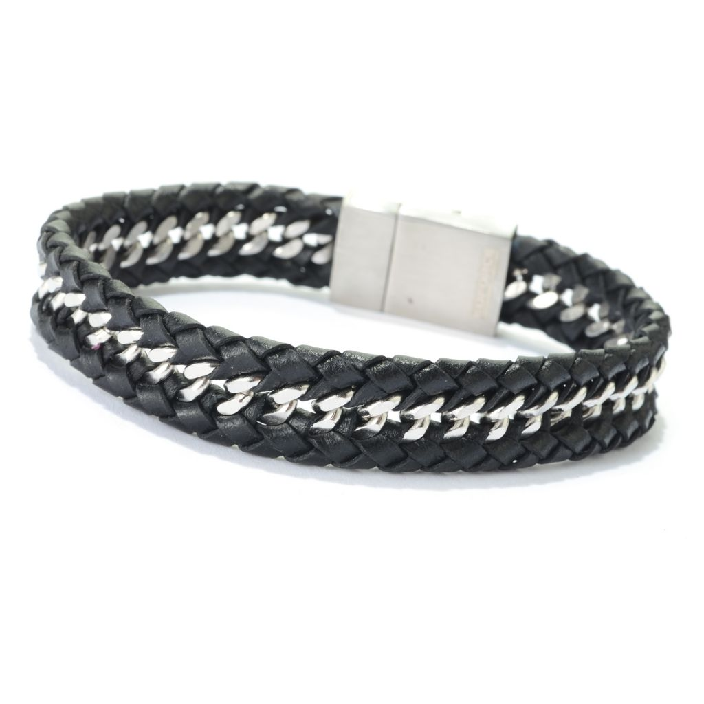 "142-036 - Steel Impact™ Men's Stainless Steel & Leather 8.5"" Bracelet w/ Magnetic Clasp"