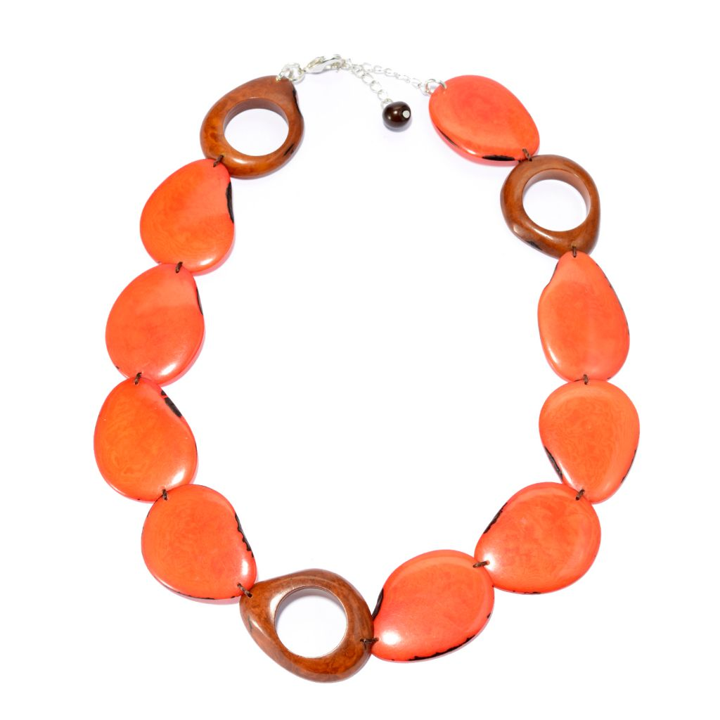 "142-042 - Tagua 18"" Sliced & Cut-out Station Necklace w/ 2.5"" Extender"
