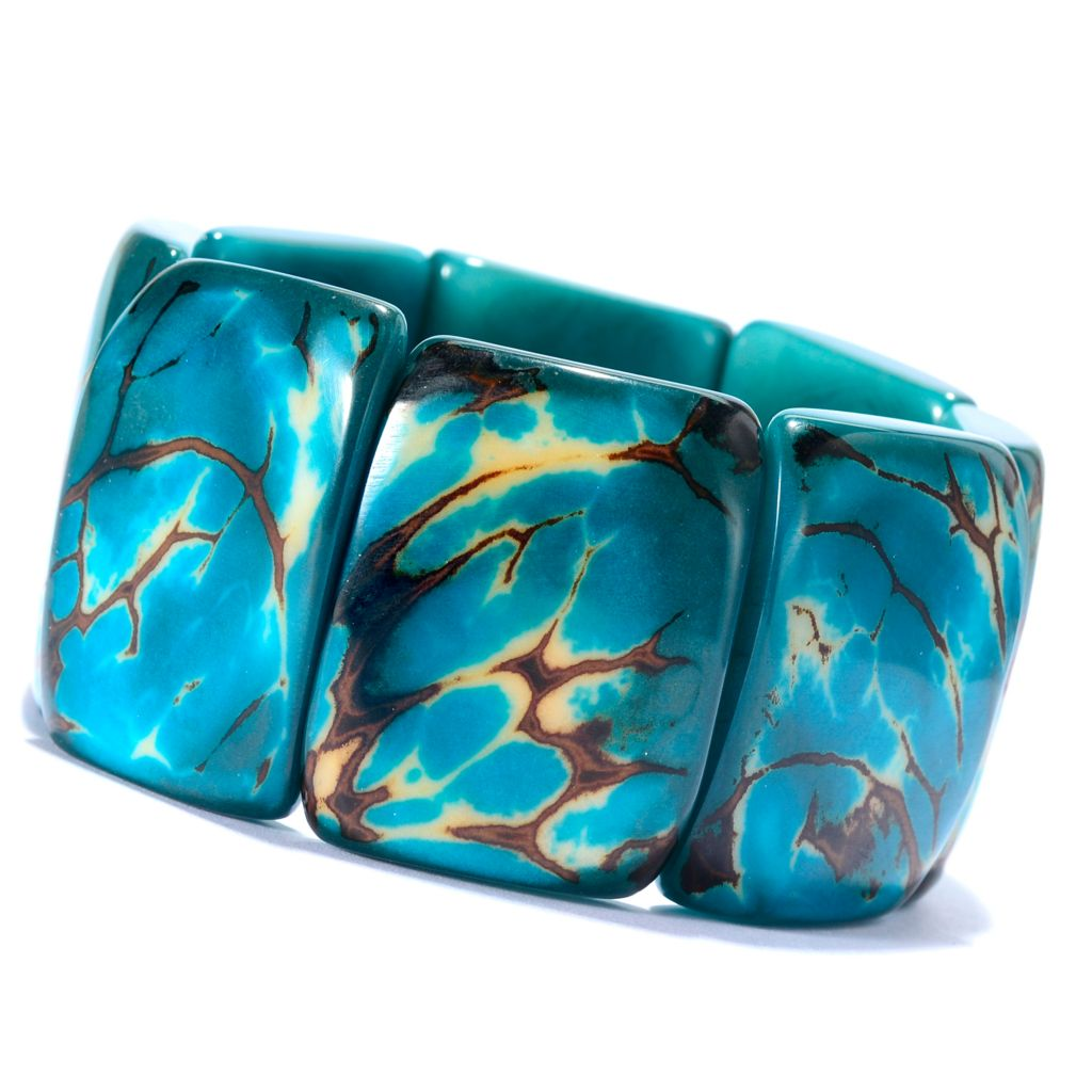 142-045 - Tagua Matrixed Rectangle Station Stretch Bracelet