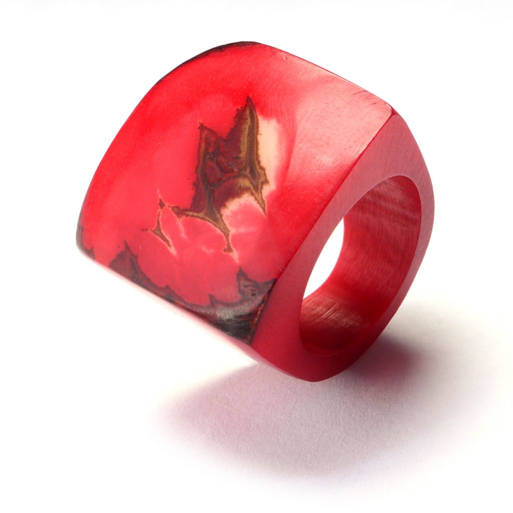 142-046 - Tagua Carved Elongated Wide Band Ring