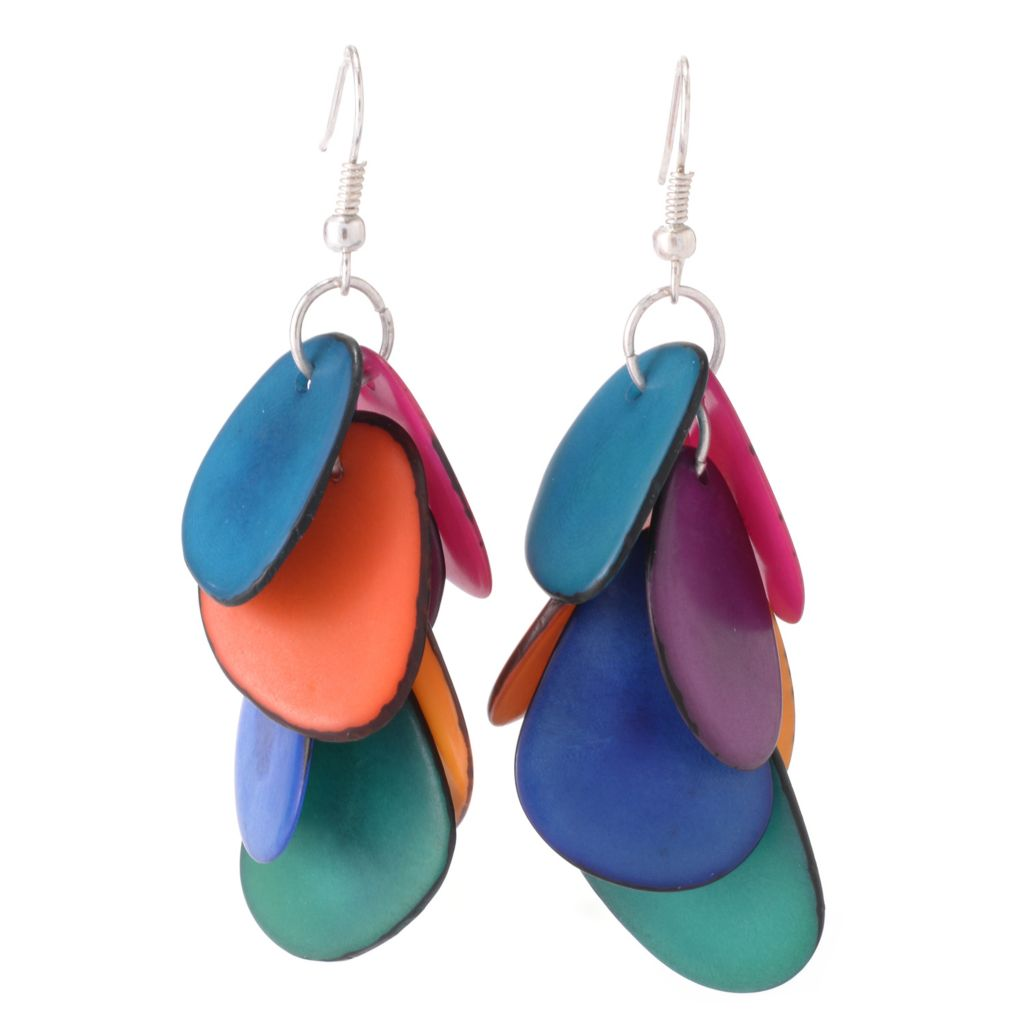 "142-049 - Tagua 2.25"" Sliced Disk Tiered Dangle Earrings"
