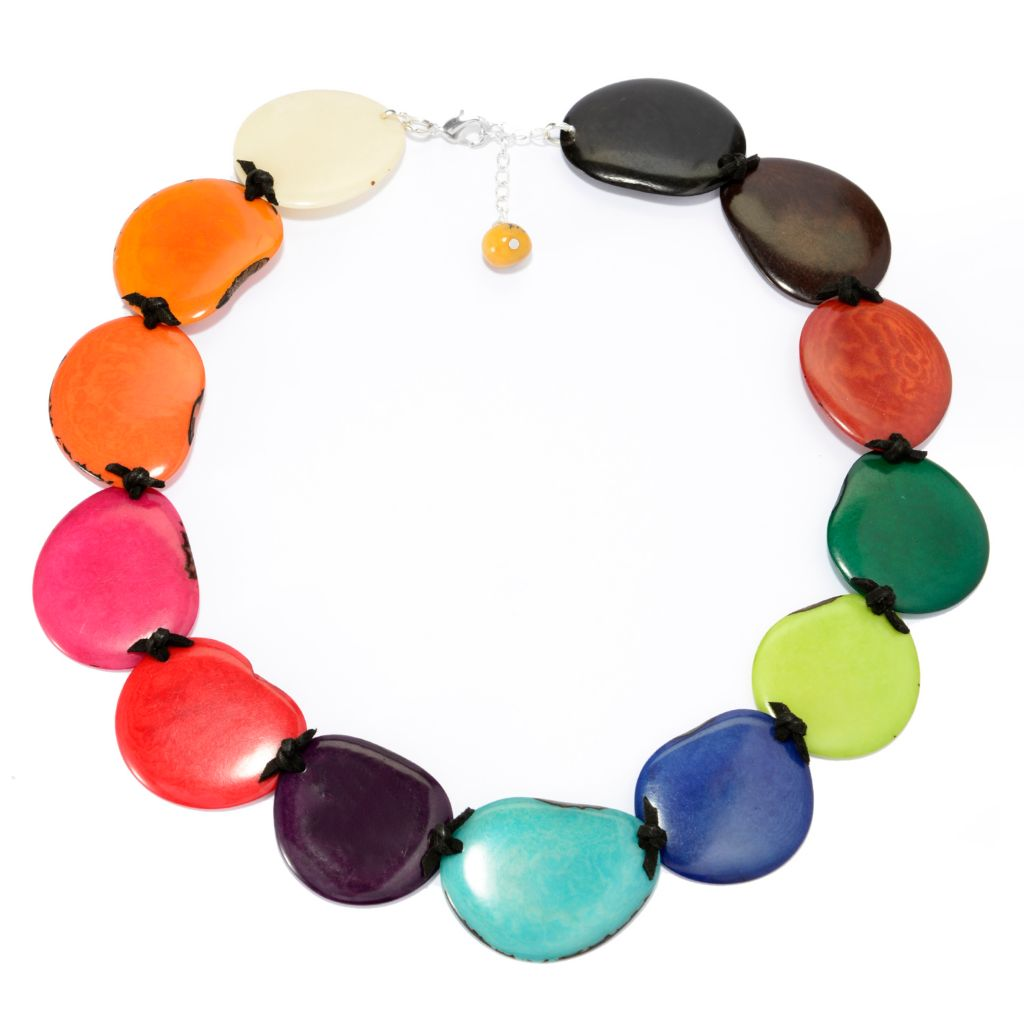 "142-050 - Tagua 20"" Multi Color Sliced Circular Bead Necklace w/ 2"" Extender"