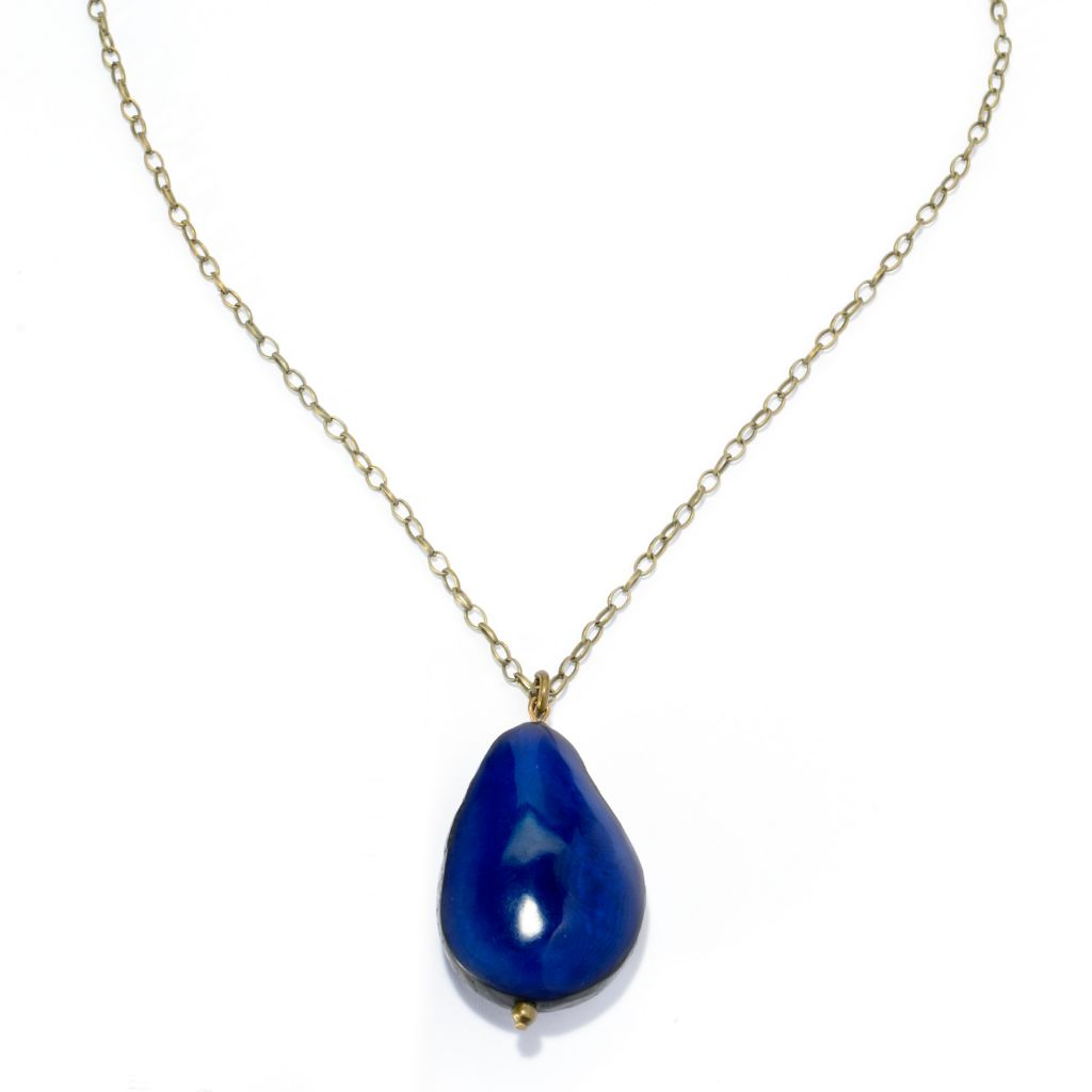 """142-051 - Tagua Choice of Color Drop Pendant w/ 35.25"""" Link Chain"""
