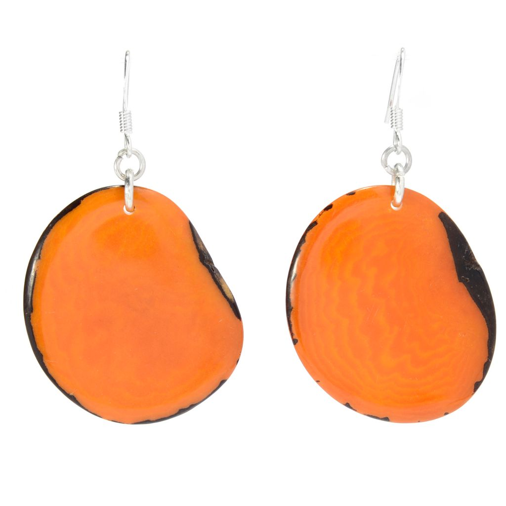 "142-054 - Tagua 2.25"" Sliced Disk Drop Earrings"