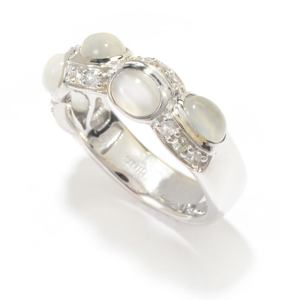 142-057 - Gem Treasures Sterling Silver Oval Moonstone & White Sapphire Band Ring