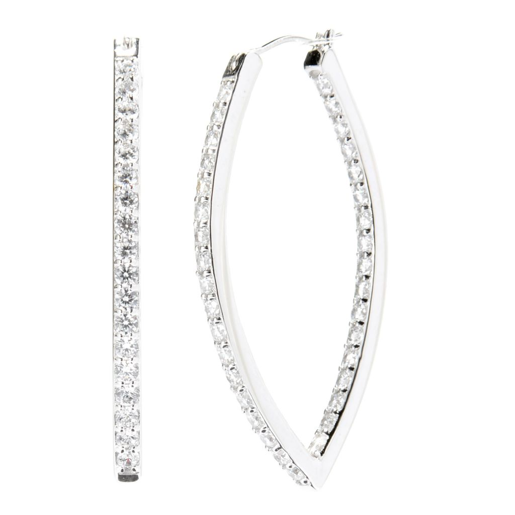 142-058 - Brilliante® Platinum Embraced™ 2.10 DEW Simulated Diamond Fancy Hoop Earrings