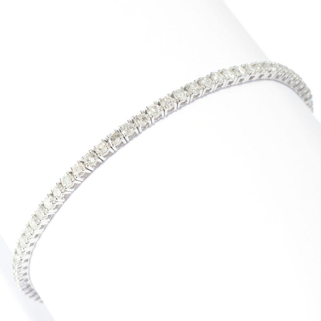 "142-059 - Diamond Treasures 14K White Gold 7"" 2.89ctw Round Diamond Line Bracelet"