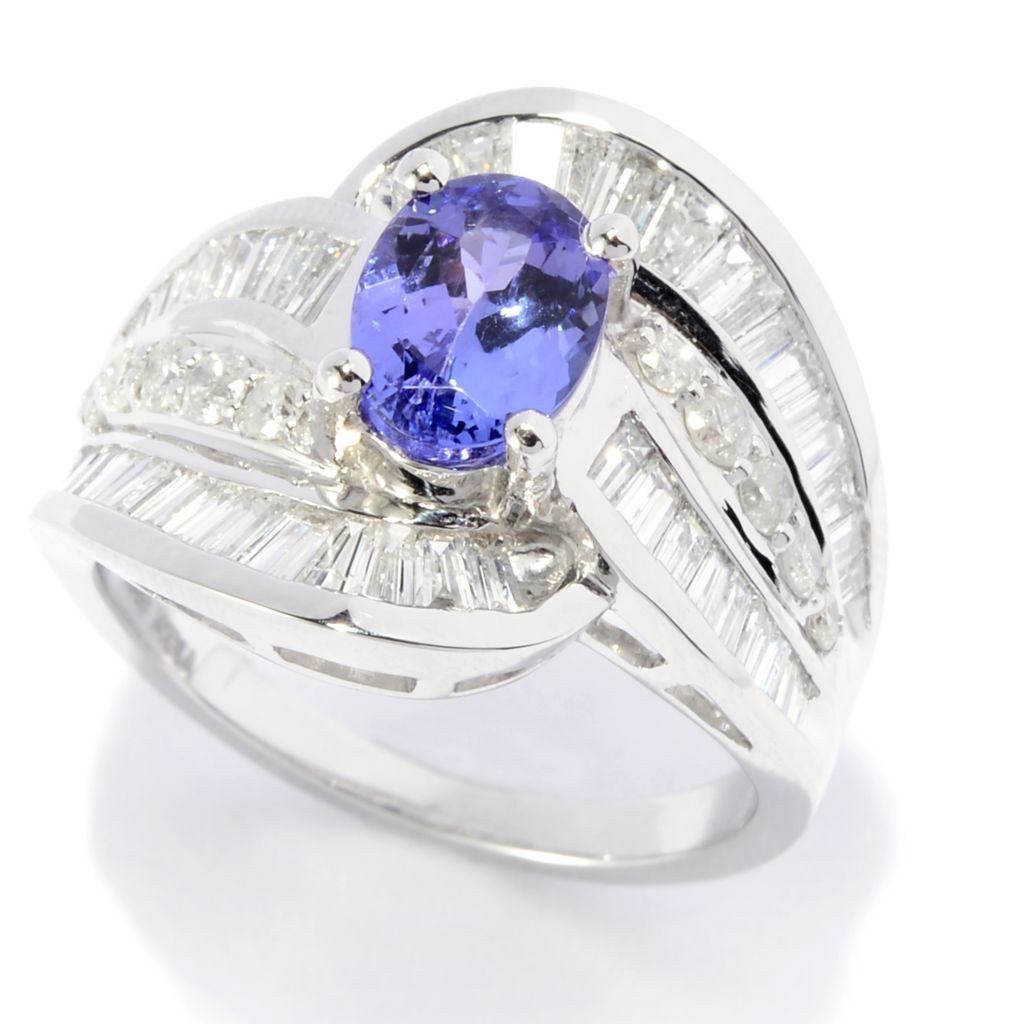 142-063 - Diamond Treasures 14K White Gold 2.77ctw Multi Shape Diamond & Tanzanite Ring