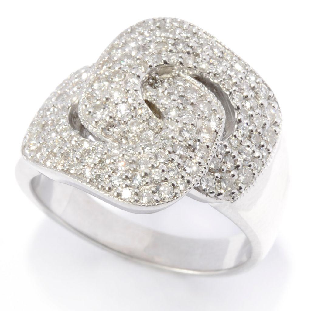 142-064 - Diamond Treasures Sterling Silver 0.96ctw Diamond Rounded Rectangle Interlocking Ring