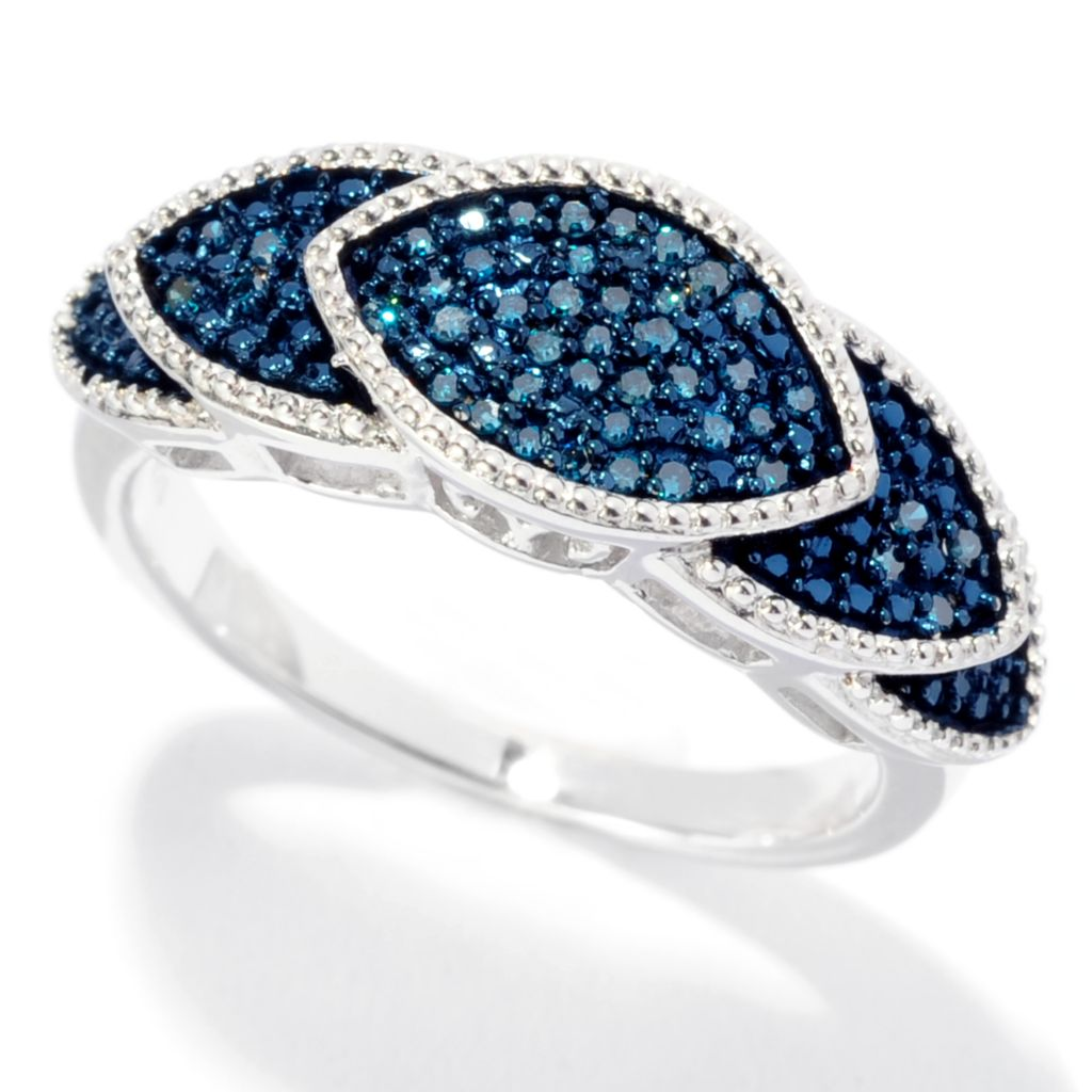 142-065 - Diamond Treasures Sterling Silver 0.13ctw Pave Blue Diamond Chevron Ring