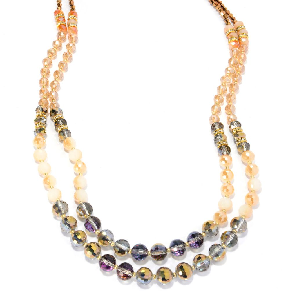 "142-092 - Elume™ 29"" Graduated Glass Bead Two-Strand Necklace"