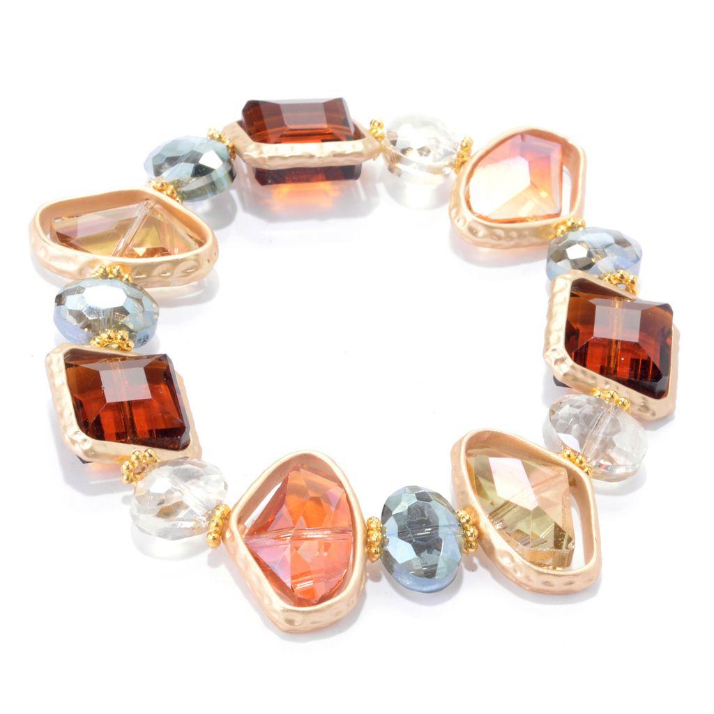 142-094 - Elume™ Crystal Bead Satin Finished & Hammered Station Stretch Bracelet