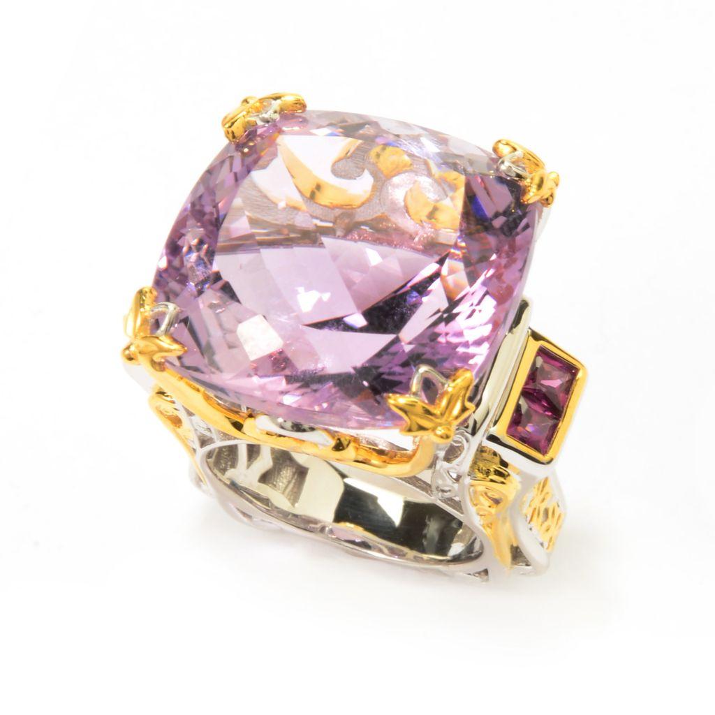 142-095 - Gems en Vogue 32.54ctw Pink Amethyst & Rhodolite Euro Shank Ring