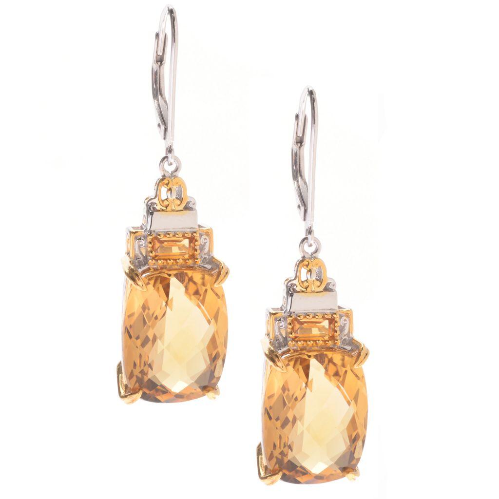 "142-097 - Gems en Vogue 1.50"" 15.06ctw Brazilian Canary Citrine Baguette Drop Earrings"