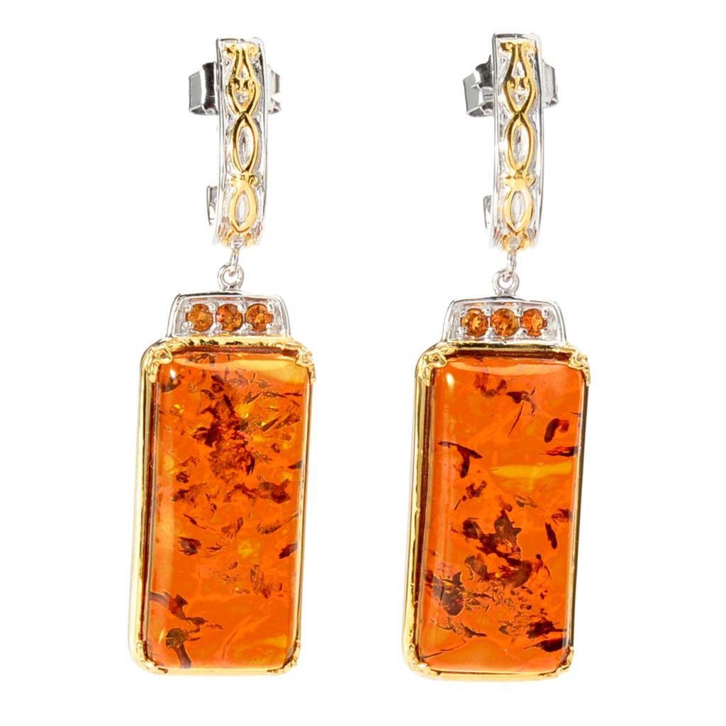 "142-098 - Gems en Vogue 2"" 25 x 12mm Baltic Amber & Madeira Citrine Dangle Earrings"