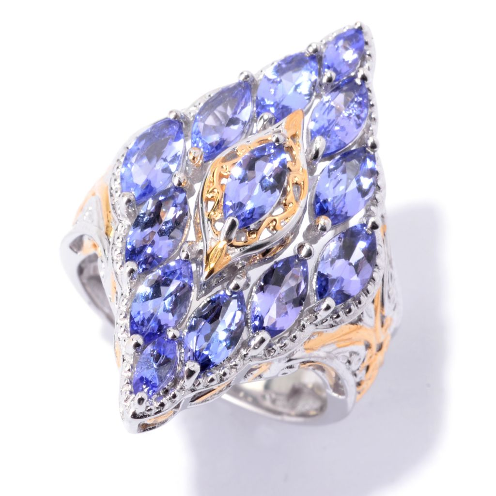 142-099 - Gems en Vogue 2.69ctw Tanzanite Marquise Shaped Scrollwork Border Ring