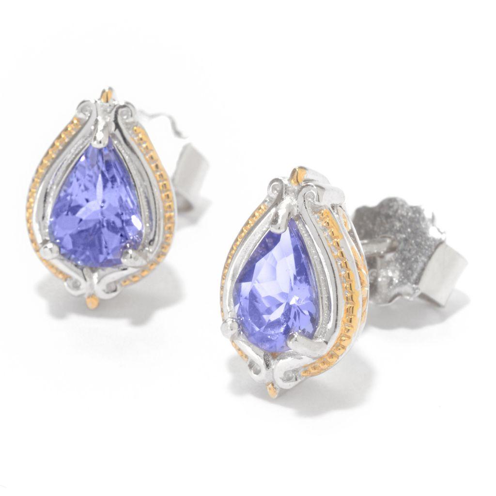 142-101 - Gems en Vogue 1.20ctw Tanzanite Pear Shaped Stud Earrings