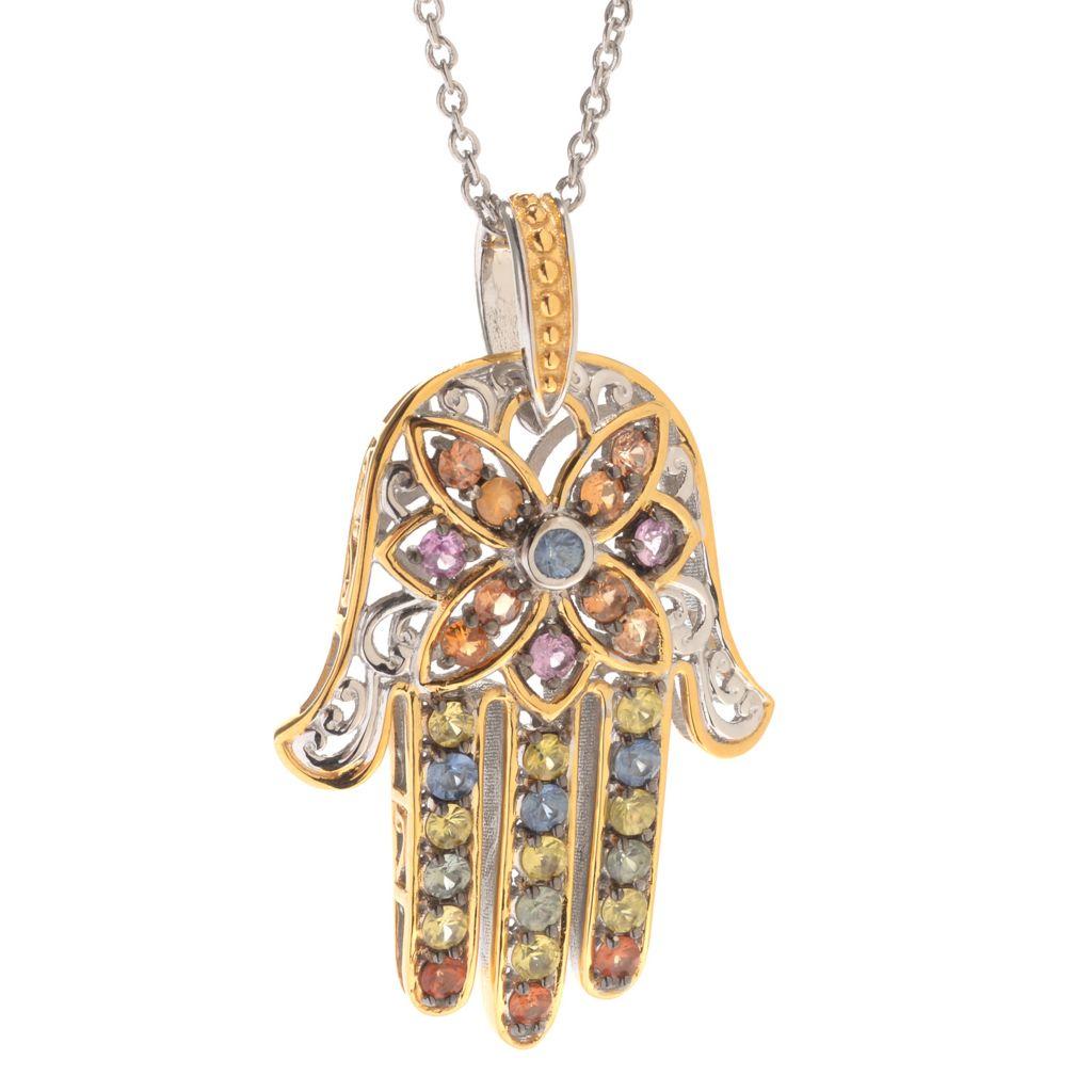 """142-103 - Gems en Vogue 2.40ctw Multi Sapphire Hamsa Pendant w/ 18"""" Chain"""