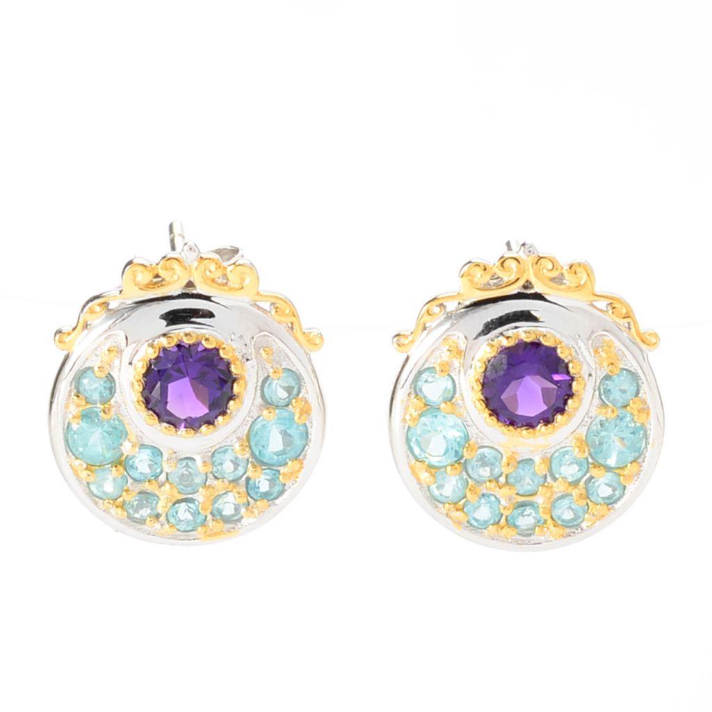 142-104 - Gems en Vogue 2.16ctw African Amethyst & Brazilian Apatite Button Earrings