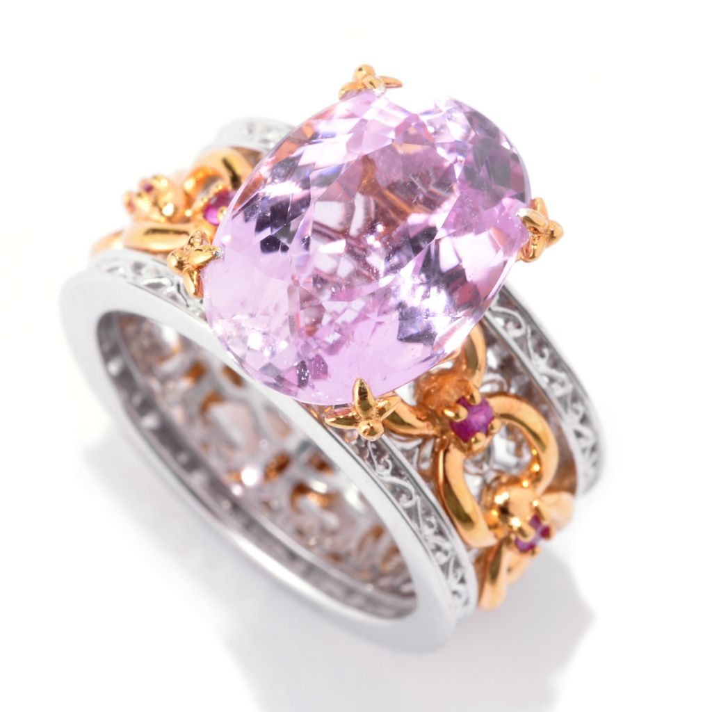 142-107 - Gems en Vogue 7.26ctw Kunzite & Pink Sapphire Chain Link Wide Band Ring