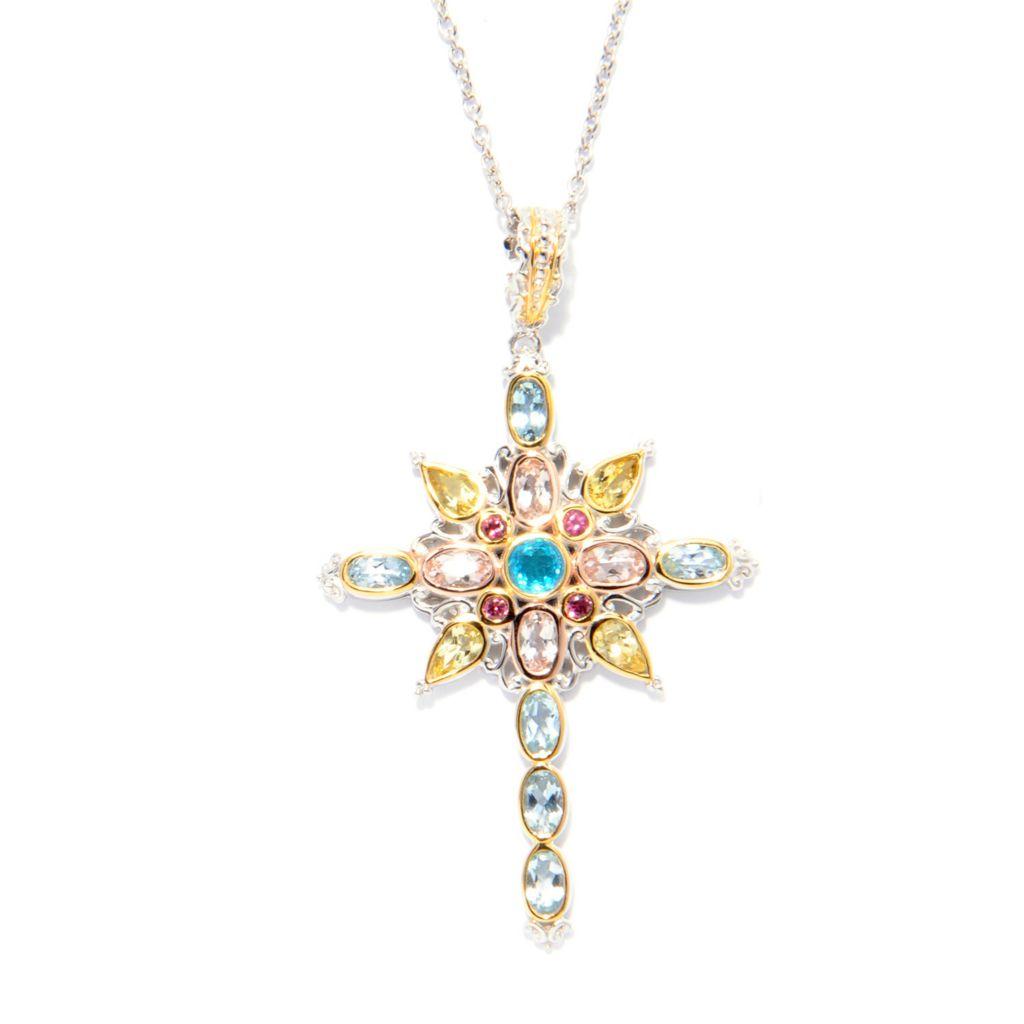 142-108 - Gems en Vogue 3.26ctw Brazilian Multi Gemstone Fancy Cross Pendant w/Chain
