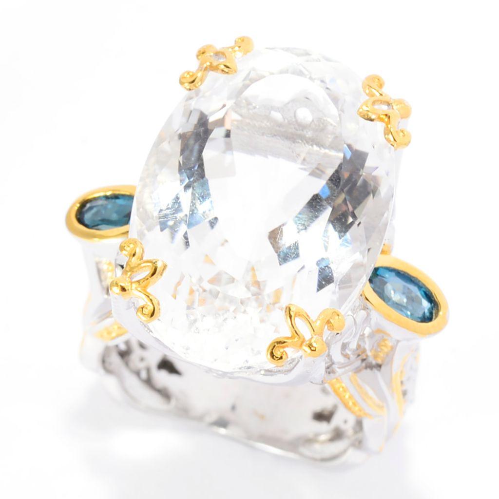 142-109 - Gems en Vogue 18.80ctw White Quartz & London Blue Topaz Scrollwork Ring