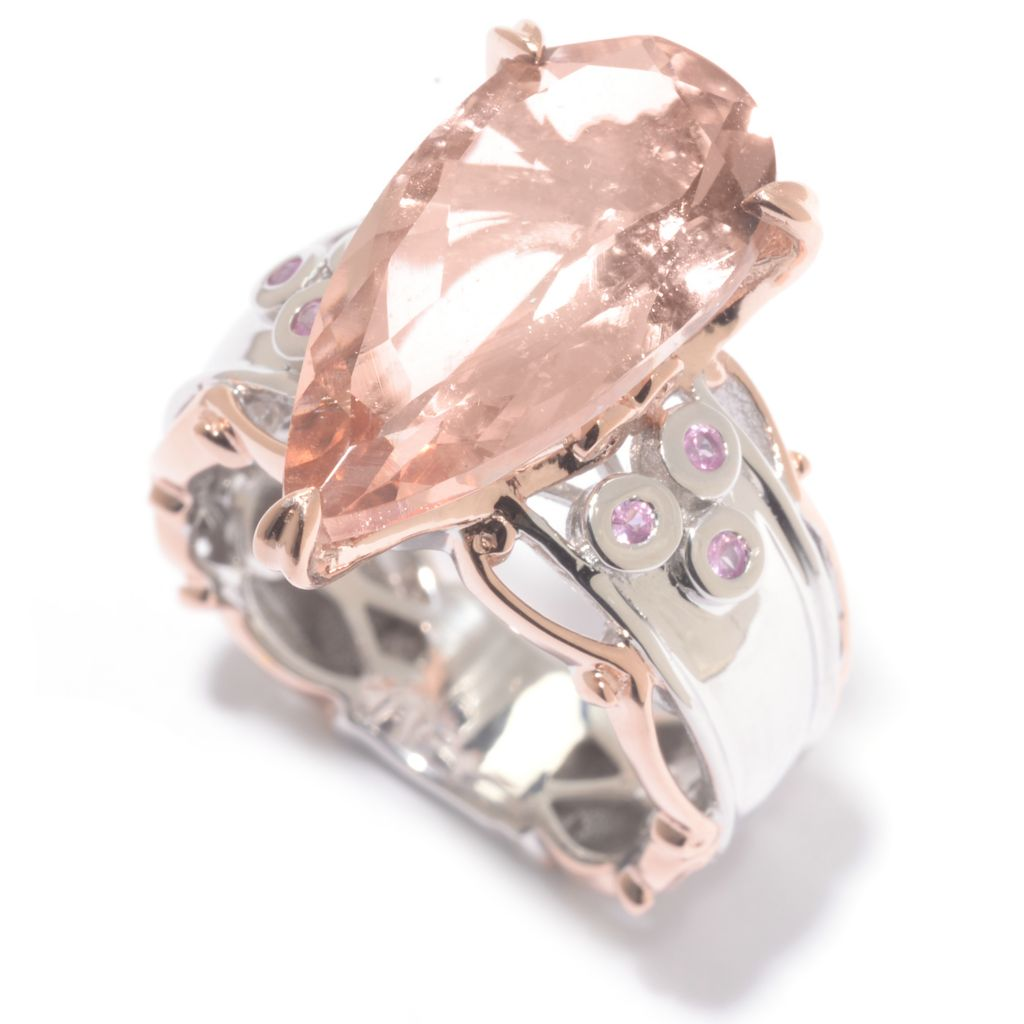 142-110 - Gems en Vogue 5.23ctw Pear Shaped Morganite & Pink Sapphire Ring
