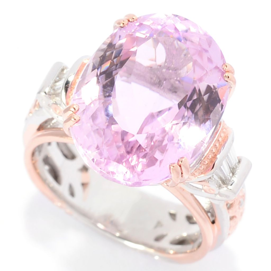 142-111 - Gems en Vogue 11.61ctw Oval Kunzite & Baguette Diamond Scrollwork Ring