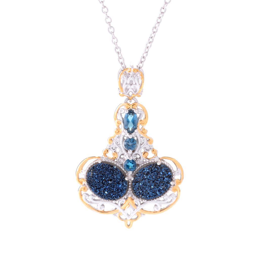 142-113 - Gems en Vogue 10 x 8mm Cobalt Blue Drusy & London Blue Topaz Pendant w/ Chain