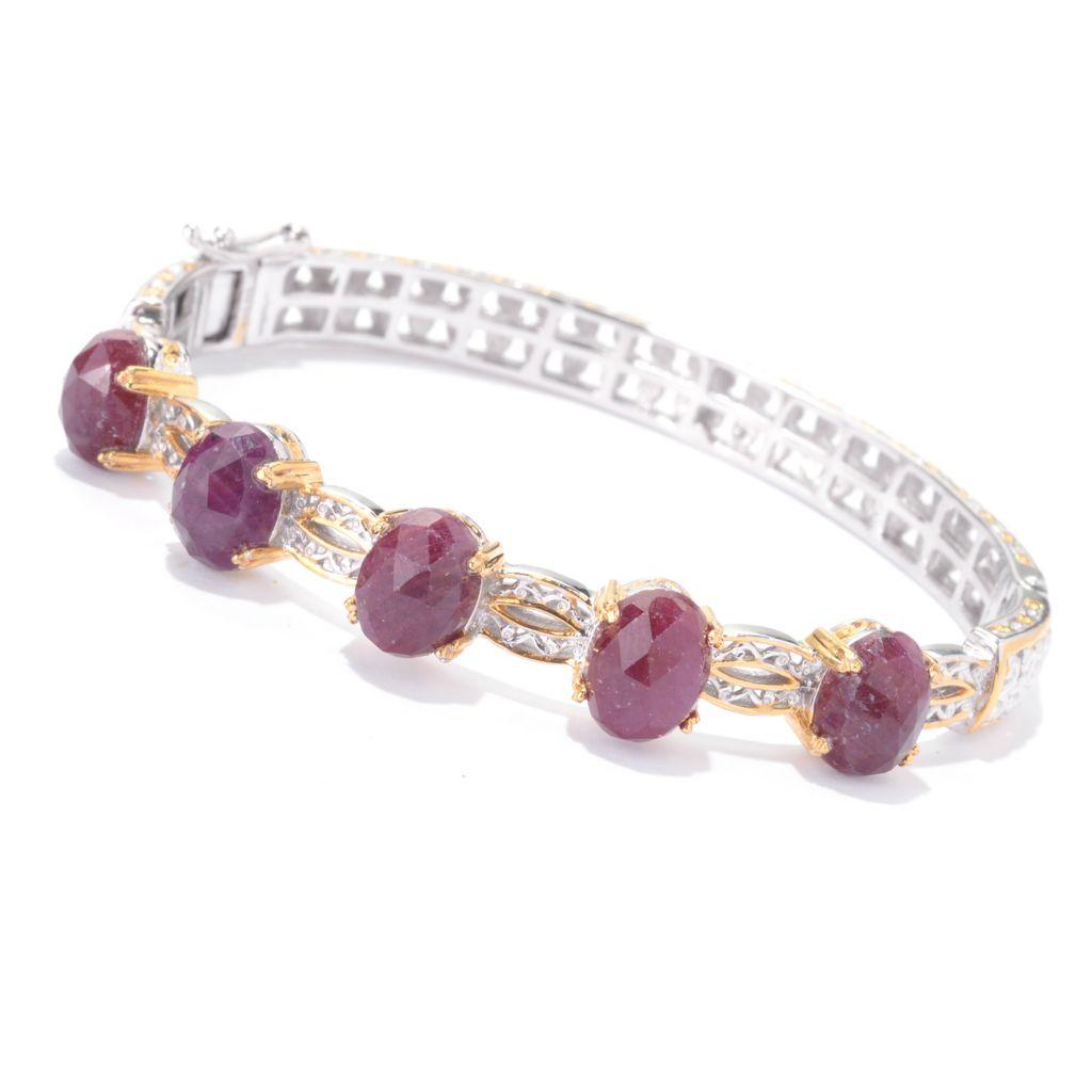 142-114 - Gems en Vogue 9 x 7mm Rose Cut Ruby Hinged Open Scrollwork Bangle Bracelet