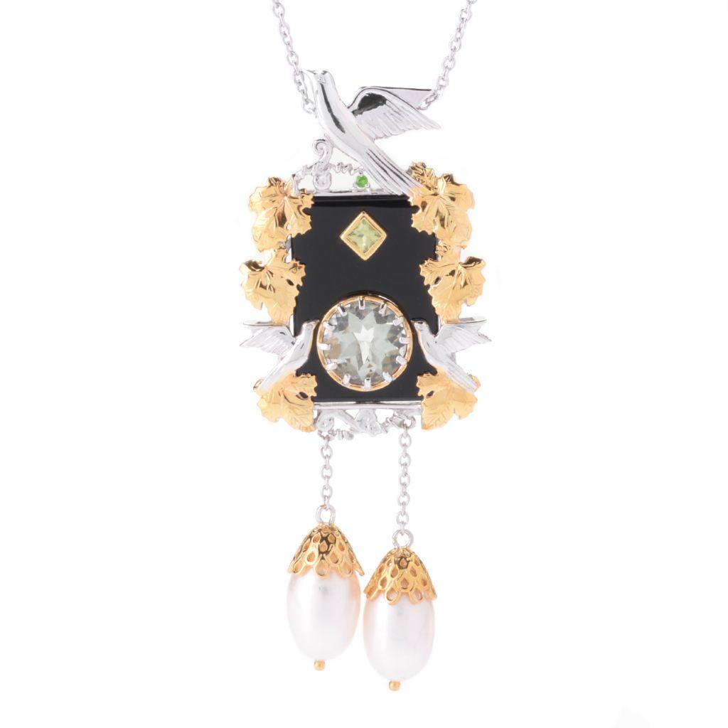 142-115 - Gems en Vogue 25 x 18mm Onyx, Cultured Pearl & Multi Gemstone Dove Pendant