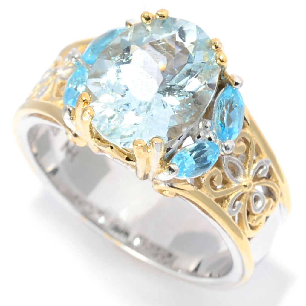 142-116 - Gems en Vogue 2.95ctw Oval Aquamarine & Swiss Blue Topaz Scrollwork Ring