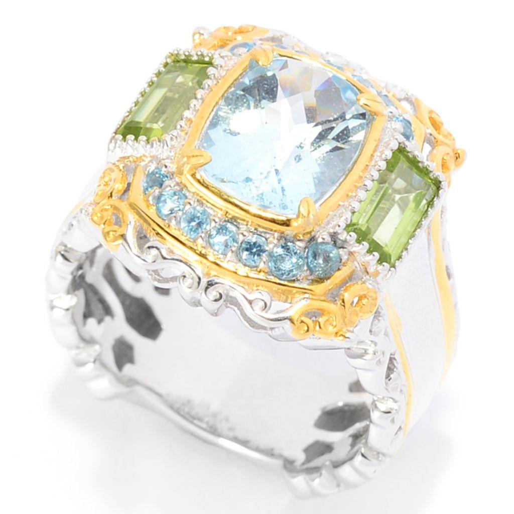 142-117 - Gems en Vogue 2.88ctw Aquamarine, Peridot & Swiss Blue Topaz Ring