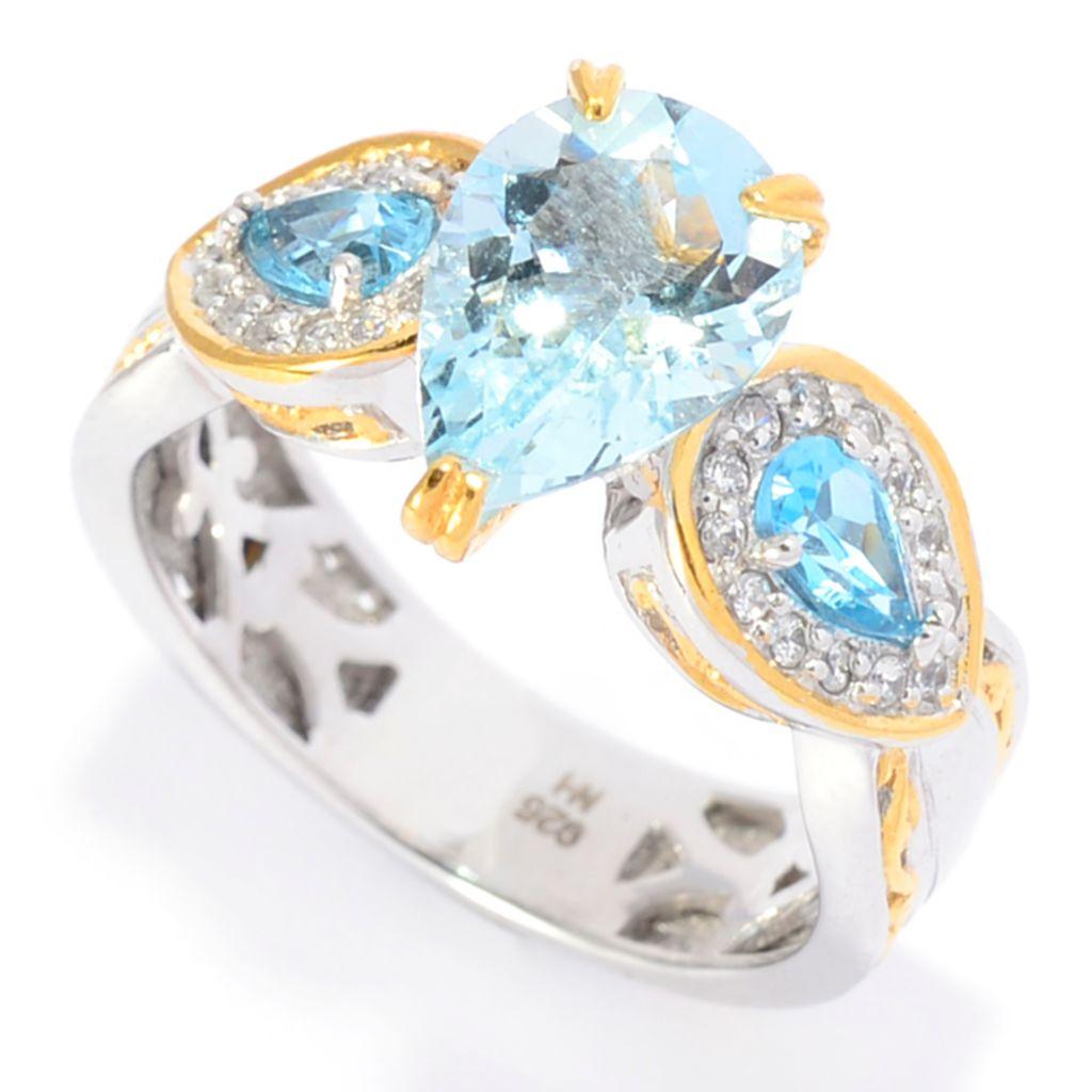 142-118 - Gems en Vogue 2.32ctw Aquamarine, Swiss Blue Topaz & White Zircon Ring