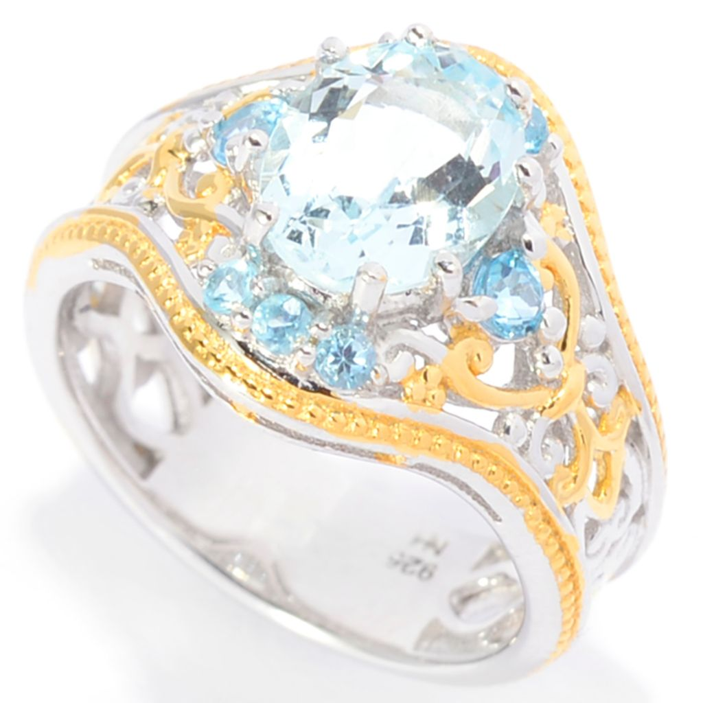 142-119 - Gems en Vogue 1.93ctw Aquamarine & Swiss Blue Topaz Open Scrollwork Etruscan Ring