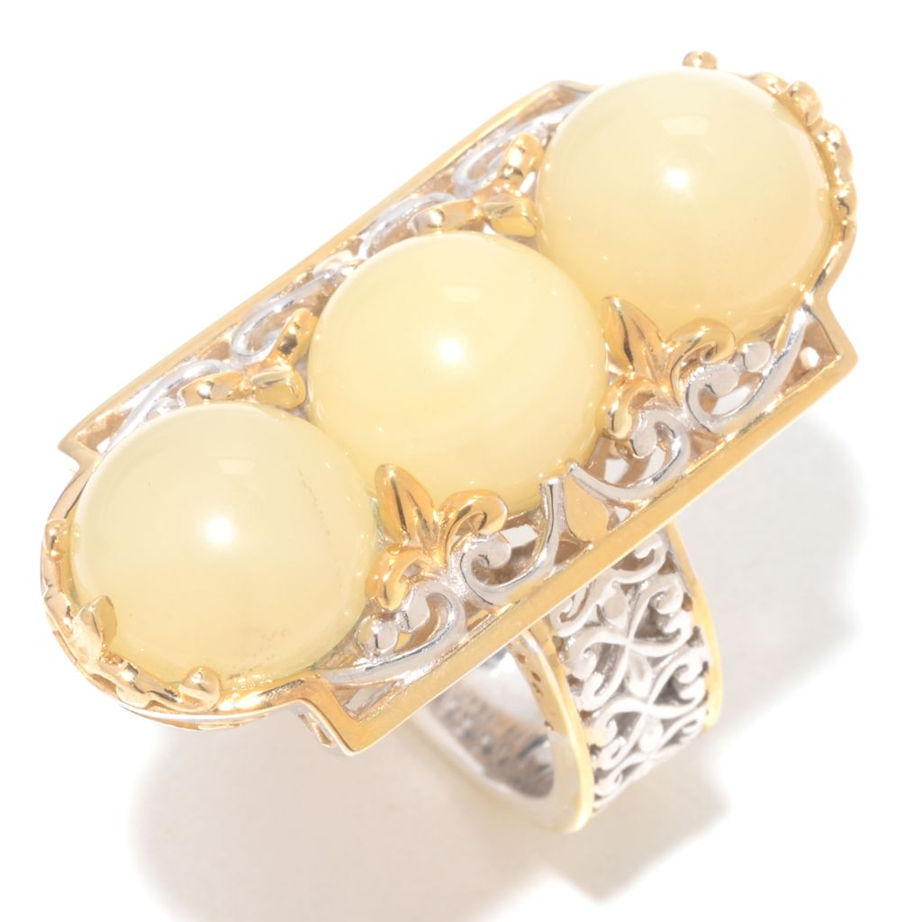 142-120 - Gems en Vogue 10mm Round Yellow Opal Three-Stone Elongated Ring
