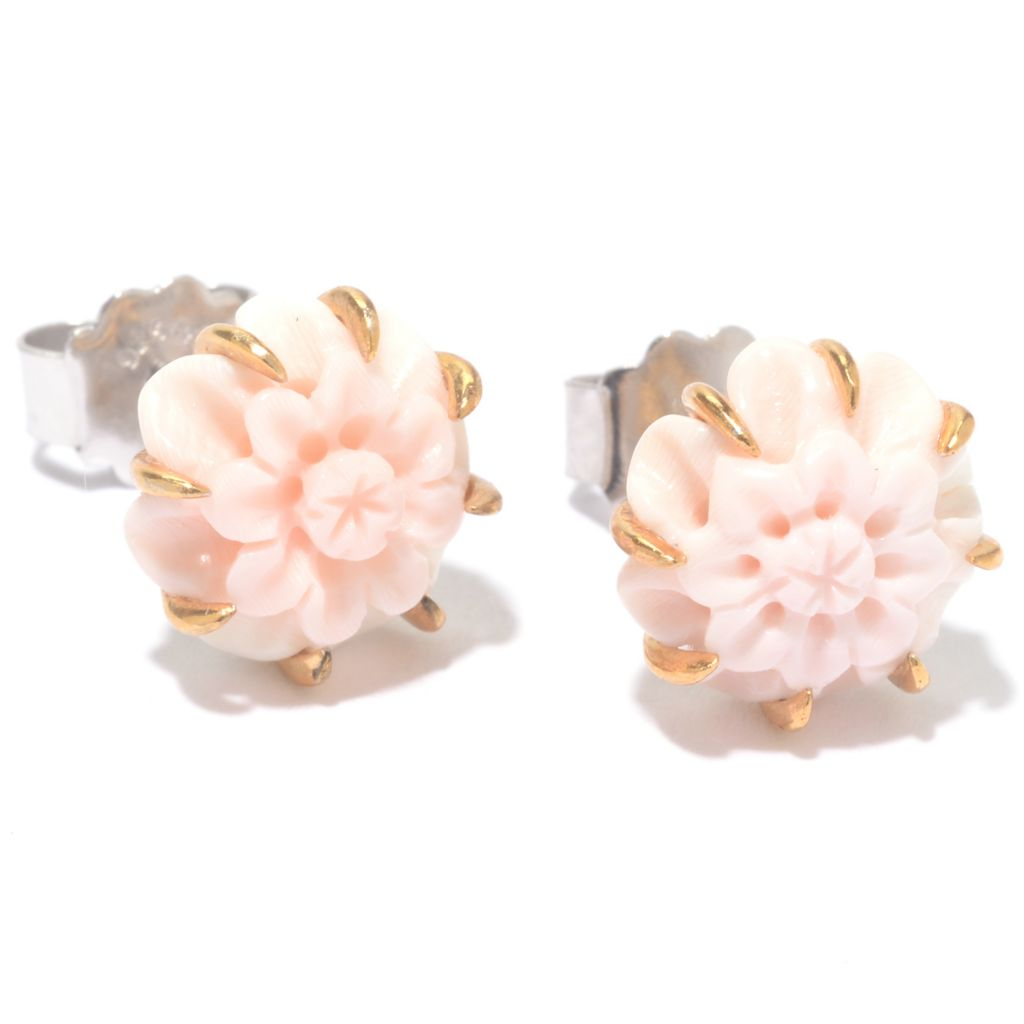 142-122 - Gems en Vogue 10mm Carved Pink Conch Shell Stud Earrings