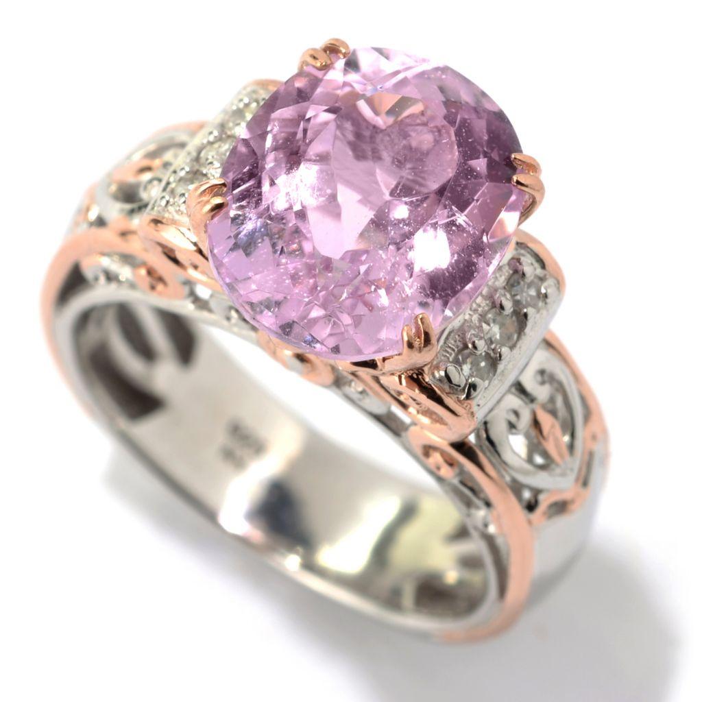 142-124 - Gems en Vogue 5.83ctw Oval Kunzite & Diamond Scrollwork Ring