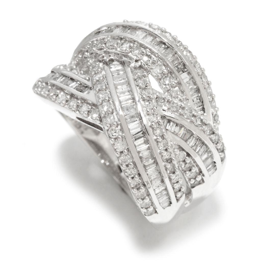 142-132 - Diamond Treasures 14K White Gold 1.00ctw Baguette & Round Diamond Crisscross Ring