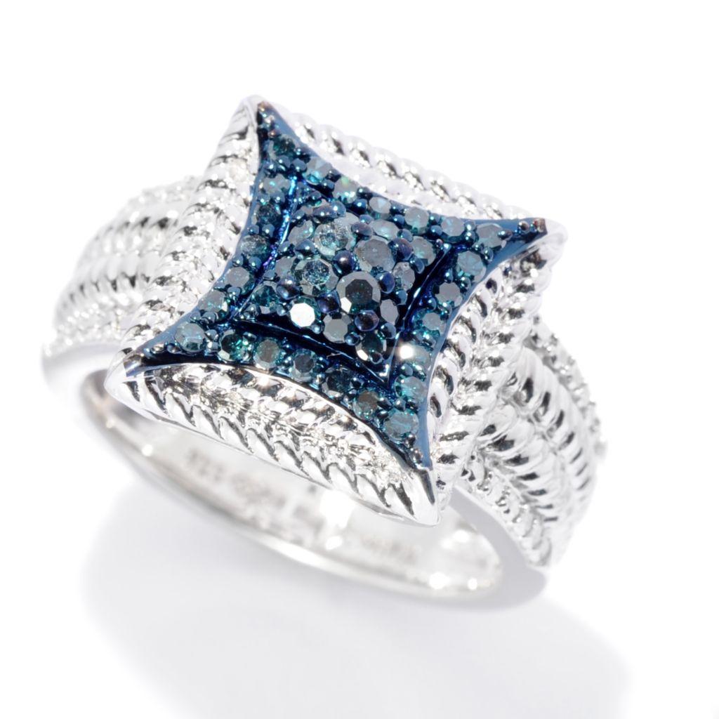 142-133 - Diamond Treasures Sterling Silver 0.35ctw Fancy Color Diamond Square Ring