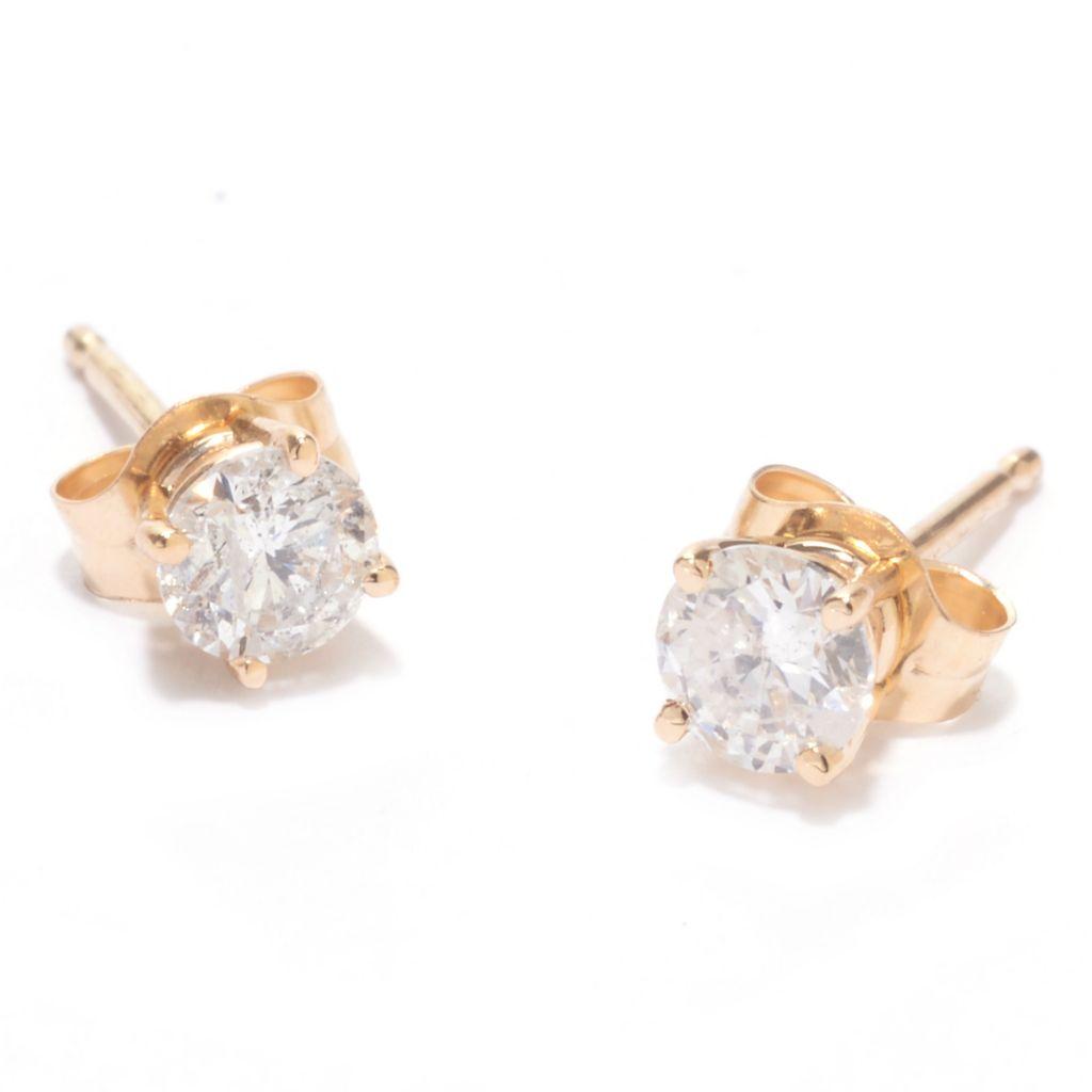 142-136 - Diamond Treasures 14K Gold 0.50ctw Round Diamond Stud Earrings