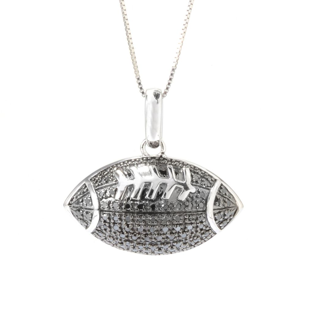 142-137 - Diamond Treasures Sterling Silver 0.26ctw Fancy Color Diamond Football Pendant