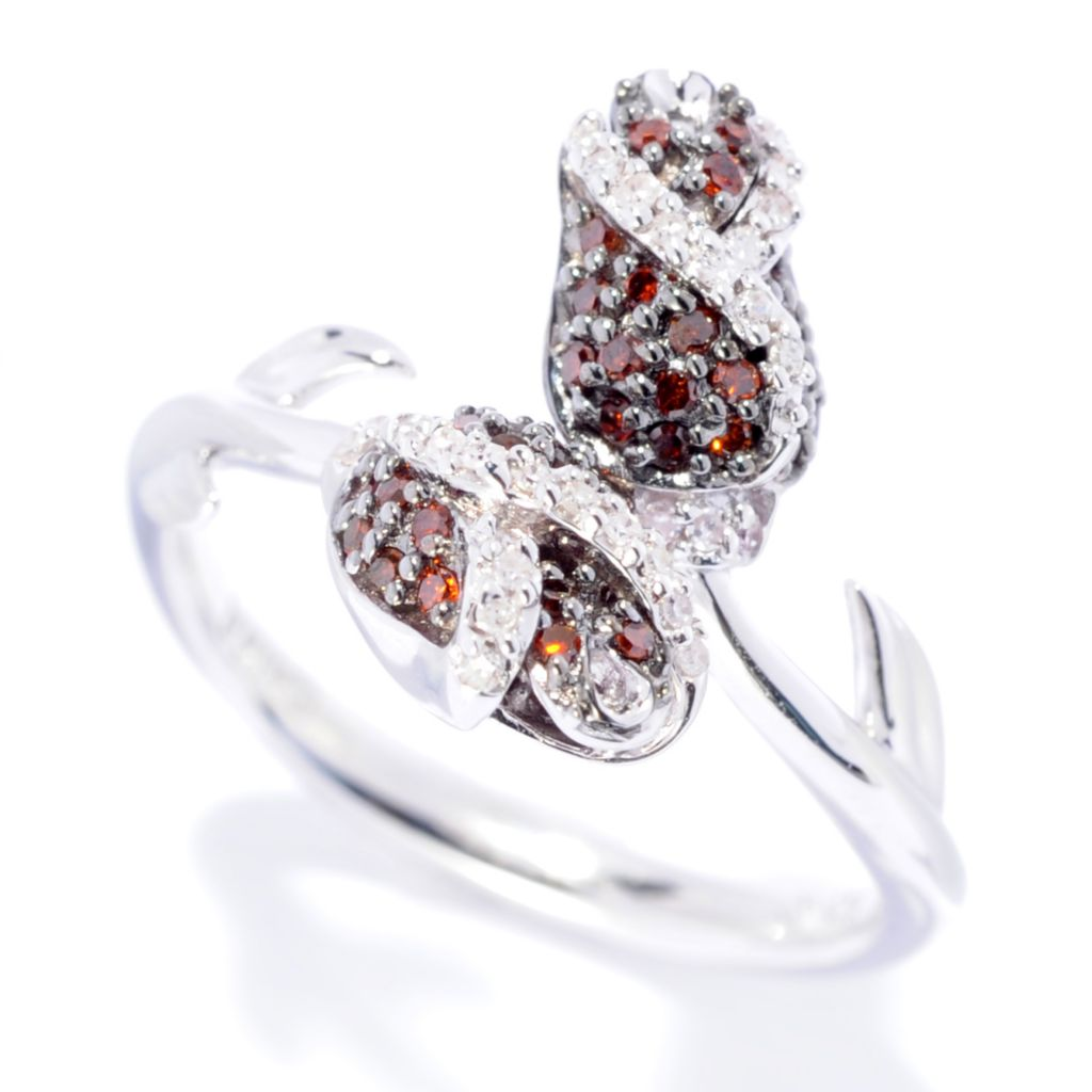 142-138 - Diamond Treasures Sterling Silver 0.25ctw Red & White Diamond Rosebud Ring