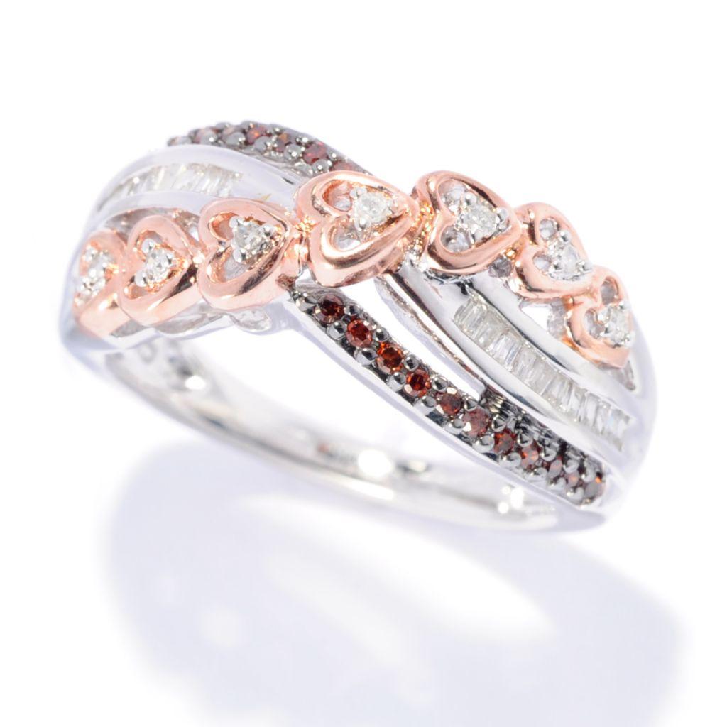 142-140 - Diamond Treasures Two-tone 0.25ctw Fancy Color & White Diamond Heart Ring